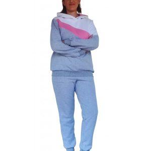 Μπλούζα θηλασμού, φούτερ, τρίχρωμη, με διαγώνια φάσα και κουκούλα
