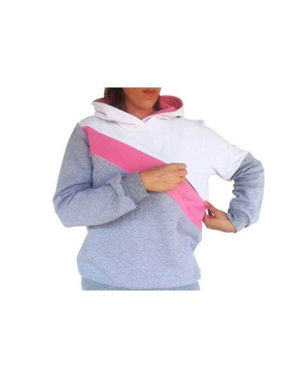 Μπλούζα θηλασμού, φούτερ, τρίχρωμη, με διαγώνια φάσα και κουκούλα3