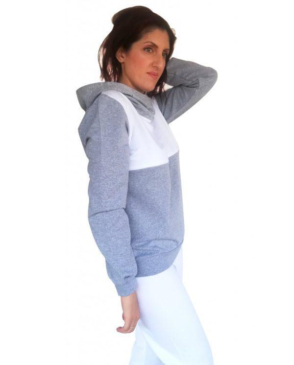 Μπλούζα θηλασμού, λεπτό φούτερ, δίχρωμη, με μεγάλη κουκούλα-γιακά2