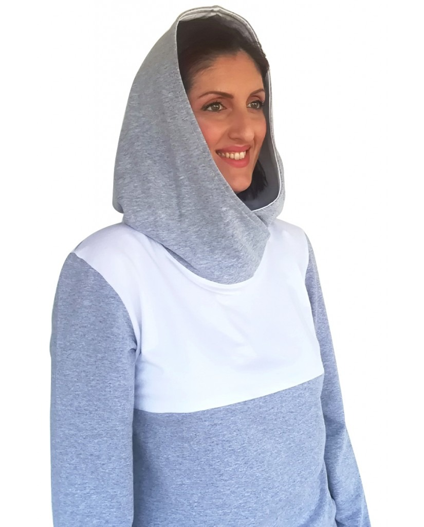 Μπλούζα θηλασμού, λεπτό φούτερ, δίχρωμη, με μεγάλη κουκούλα-γιακά