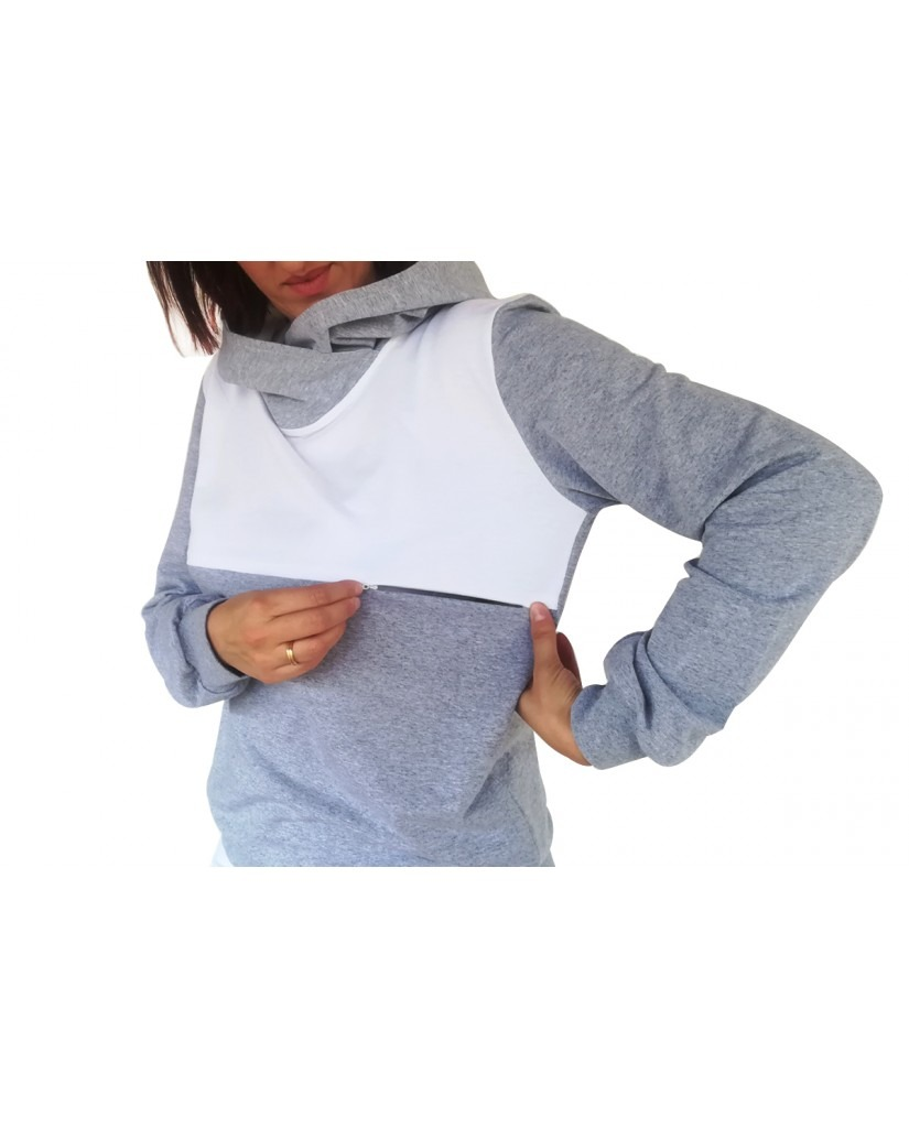 Μπλούζα θηλασμού, λεπτό φούτερ, δίχρωμη, με μεγάλη κουκούλα-γιακά3
