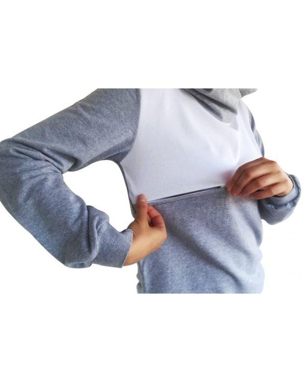 Μπλούζα θηλασμού, λεπτό φούτερ, δίχρωμη, με μεγάλη κουκούλα-γιακά4