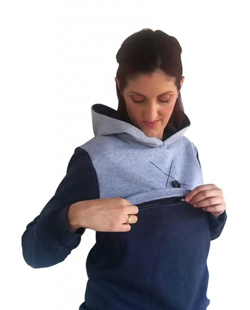 Μπλούζα θηλασμού, φούτερ, δίχρωμη, με κουκούλα3