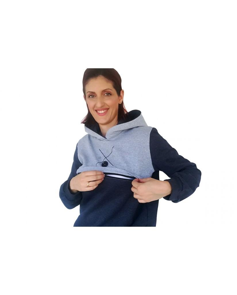 Μπλούζα θηλασμού, φούτερ, δίχρωμη, με κουκούλα2
