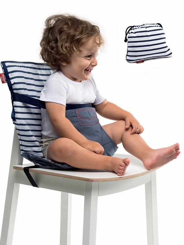 Φορητό κάθισμα φαγητού - Pocket chair-Ασπρο-μπλε ριγέ2
