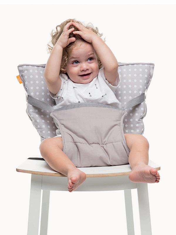 Φορητό κάθισμα φαγητού - Pocket chair-γκρι αστεράκια2