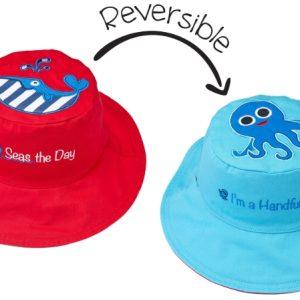 Καπέλο διπλής όψης, αντηλιακό UPF 50+Whale/Octopus – FlapJackKids