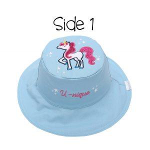 Καπέλο διπλής όψης, αντηλιακό UPF 50+, Unicorn/Rainbow – FlapJackKids