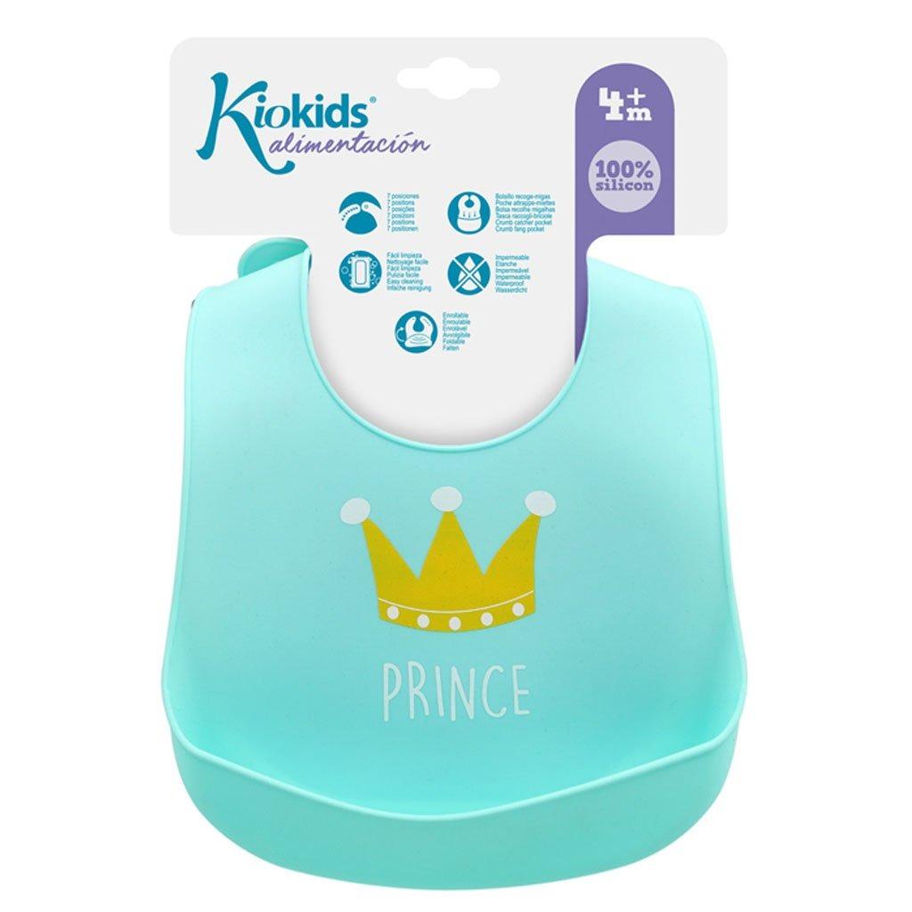 Σαλιάρα σιλικόνης, με τσέπη - Kiokids - Γαλάζιο prince