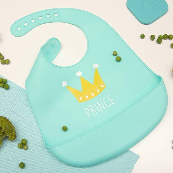 Σαλιάρα σιλικόνης, με τσέπη - Kiokids - Γαλάζιο prince2