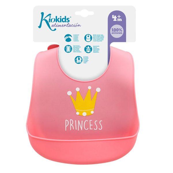 Σαλιάρα σιλικόνης, με τσέπη - Kiokids - Ροζ princess