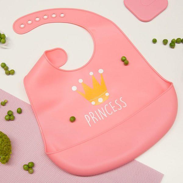 Σαλιάρα σιλικόνης, με τσέπη - Kiokids - Ροζ princess2