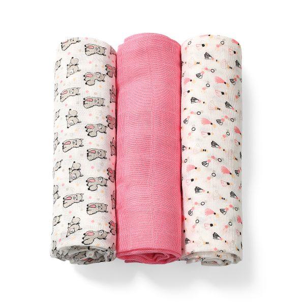 Σετ 3 απαλές πάνες μουσελίνες από Μπαμπού και Βαμβάκι - BabyOno - Ροζ