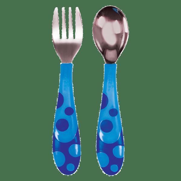 Σετ κουτάλι και πιρούνι από ανοξείδωτο ατσάλι - Munchkin - Μπλε