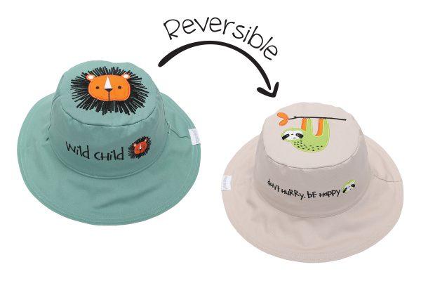 Καπέλο διπλής όψης, αντηλιακό UPF 50+, Lion/Sloth - FlapJackKids