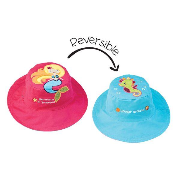Καπέλο διπλής όψης, αντηλιακό UPF 50+,Mermaid/Seahorse - FlapJackKids