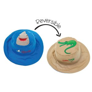 Καπέλο διπλής όψης, αντηλιακό UPF 50+, Shark/Alligator – FlapJackKids