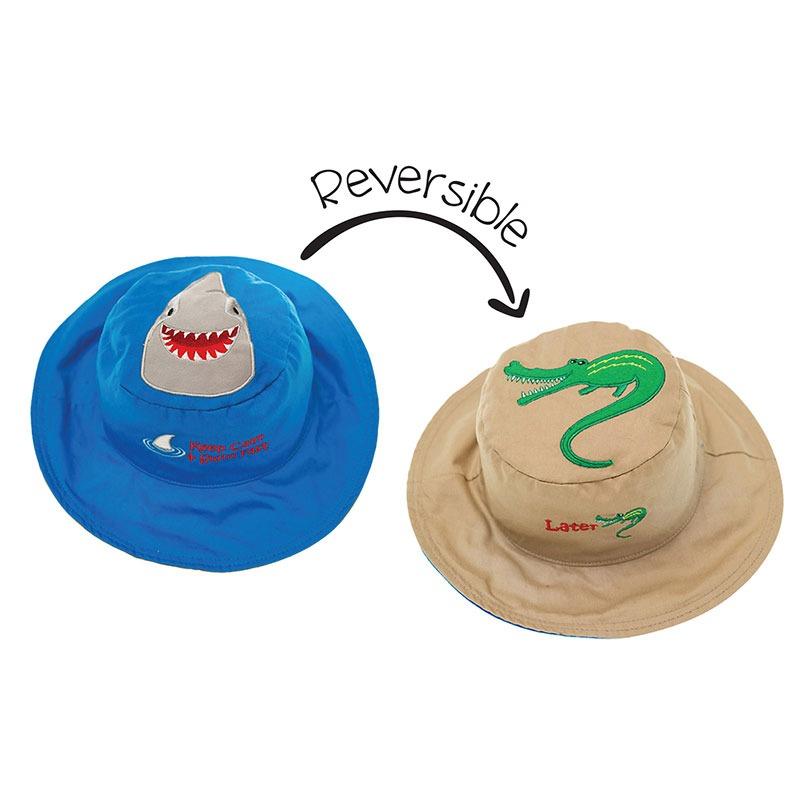 Καπέλο διπλής όψης, αντηλιακό UPF 50+, Shark/Alligator - FlapJackKids