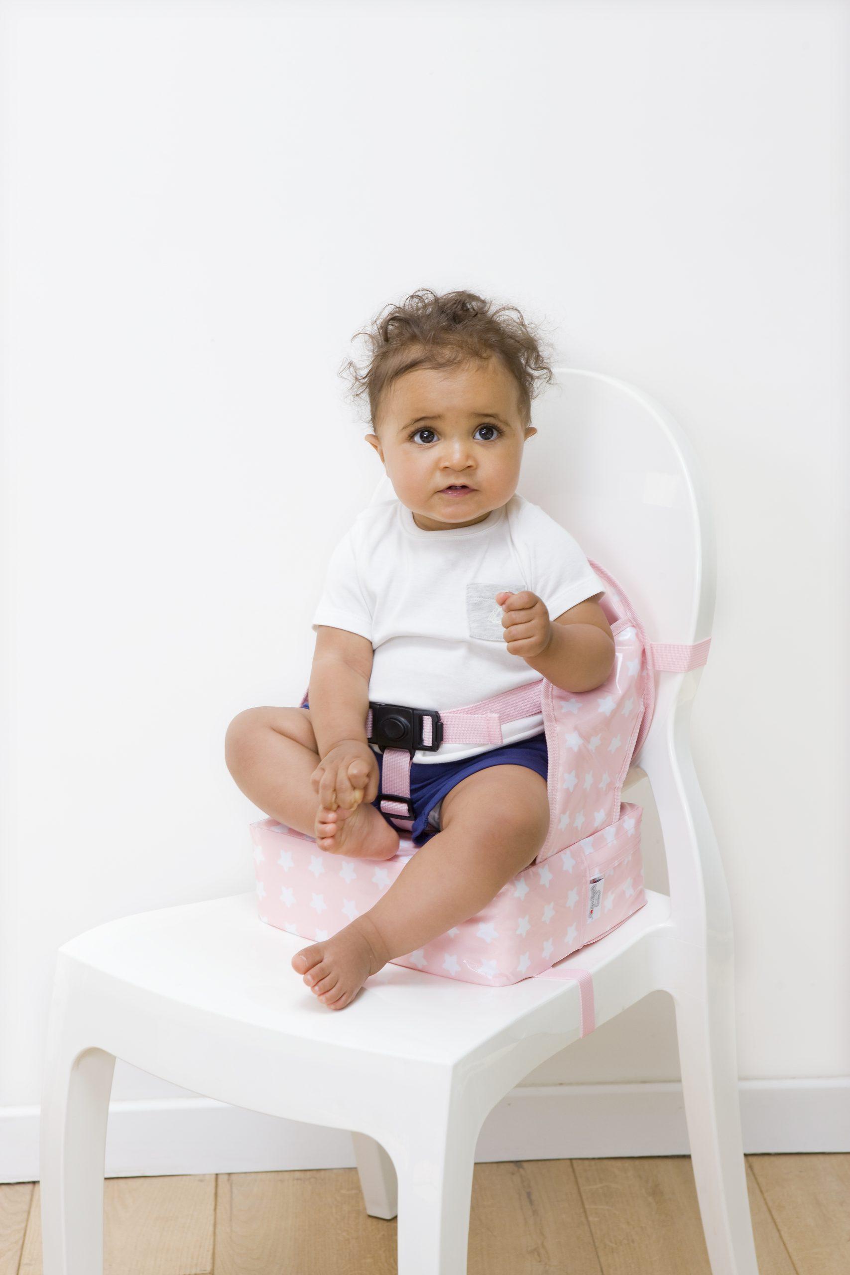 Φορητό καθισματάκι φαγητού, booster Easy Up - Baby To Love - Ροζ αστεράκια