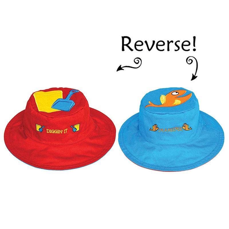 Καπέλο διπλής όψης, αντηλιακό UPF 50+, Fish/Sand - FlapJackKids