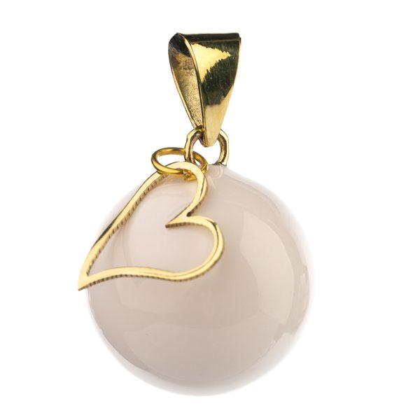 Μουσικό μενταγιόν εγκυμοσύνης Bola - Λευκό με κρεμαστή καρδούλα